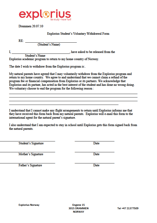 Explorius Student's voluntary withdrawal form