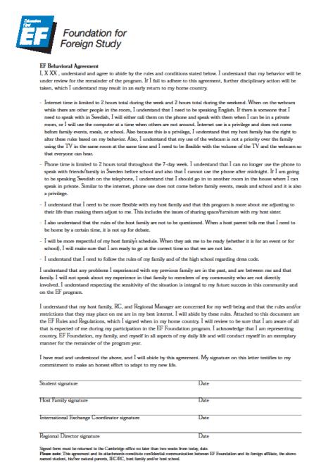 EF Foundation Behavioral agreement p2