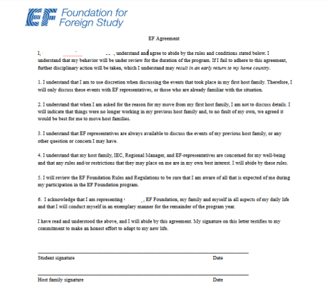EF Foundation for Foreign Study behavioral agreement